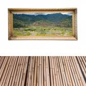 Picture frame on white wall with wood floor — Stock Photo