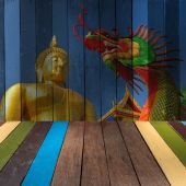 The art of painting giant buddha and dragon on background — Stock Photo
