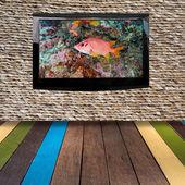 テクスチャ壁の写真と現代の液晶 — ストック写真
