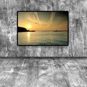 Moderno Lcd con foto sul muro texture — Foto Stock