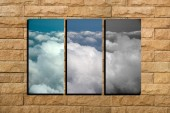 The collage cloud on brick background — Stock Photo