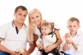 Happy young family with young — Стоковое фото