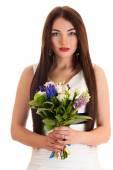Portrait beautiful woman in a wedding dress — Stock Photo