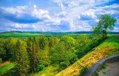 Landscape in the woodland with hills — Stock Photo