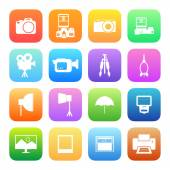 Camera and accessory icons — Stock Vector