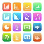Colorful Business Graph icons — Stockvector