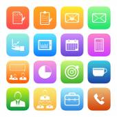 Colorful  Business and office icons — Stock Vector
