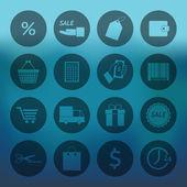 Circle Shopping icons set — Stockvector