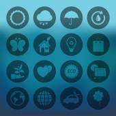 Circle Eco icons set — Stock Vector