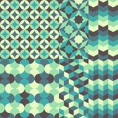 Set of abstract retro geometric pattern — Stock Vector