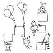 Set of hand drawing abstract cartoon party — Vecteur