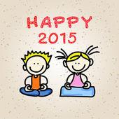 Tekening cartoon gelukkige mensen 2015 hand — Stockvector