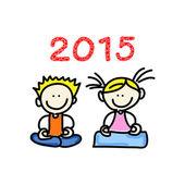 Hand drawing cartoon happy people 2015 — Stock Vector