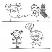 Hand drawing Chinese New Year cartoon character — Stock Vector
