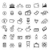 Set of financial line icons — Stock Vector