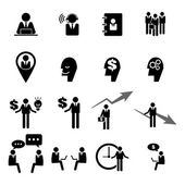 Business, management and human resource icons set — Stock Vector