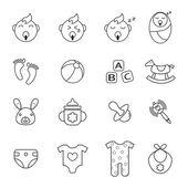 Baby sada ikon — Stock vektor