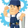 Cartoon of Strong Mechanic with Wrench — Stock Vector