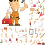 Strong Construction Worker Customizable Mascot Set — Stock Vector #52574257