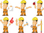 Strong Construction Worker Mascot 7 — Stock Vector
