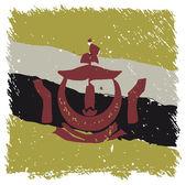Flag of Brunei, handmade, square shape — Stock Vector