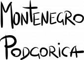 Montenegro, Podgorica, hand-lettered  — Stock Vector