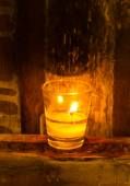Candle flame at night closeup  — Stock Photo