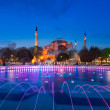 Twilight time scene of Ayasofya or Hagia Sophia, a former Orthodox patriarchal basilica, later a mosque and now a museum in Istanbul, Turkey — Stock Photo #74497457