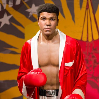 A waxwork of  Muhammad Ali on display at Madame Tussauds in Bangkok, Thailand