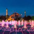 Twilight time scene of Ayasofya or Hagia Sophia, a former Orthodox patriarchal basilica, later a mosque and now a museum in Istanbul, Turkey — Stock Photo #74814087