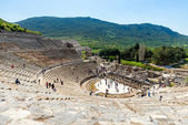 EPHESUS, TURKEY - APRIL 13 : Tourists on Amphitheater (Coliseum) in Ephesus Turkey on April 13, 2015. Ephesus contains the ancient largest collection of Roman ruins in the eastern Mediterranean. — Stock Photo