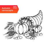 Cornucopia. Horn of plenty with autumn harvest symbols — Stock Vector