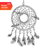 Ethnic dream catcher with feathers — Stock Vector