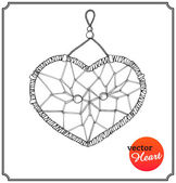 Ethnic dreamcatcher in form of heart — Cтоковый вектор