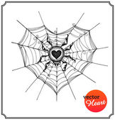 Spider and web in form of heart — Vettoriale Stock