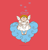 Angel in love sits on cloud in form of heart — Stock Vector