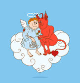 Dating of angel and demon on cloud — Stock Vector
