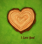 Concept wooden heart on green background with texture — Stok Vektör