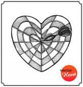 Heart in form target of defeat arrow in the goal — Stock Vector
