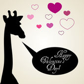Happy Valentinstag-Card mit girafe — Stockvektor