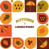 Autumn sale illustration with seasonal icons and discount — Stock Vector