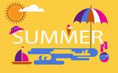 Summer time, seasonal vacation at the beach — Stock Vector