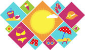 Colorful set of summer icons — Stockvector