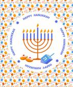 Happy Hanukkah greeting card design — Stock Vector
