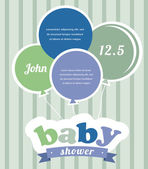 Colorful party balloons celebrating a newborn baby boy. Shower invitation — Stock Vector