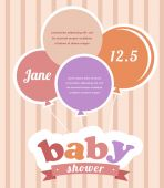 Colorful party balloons celebrating a newborn baby girl — Stock Vector