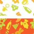 Set of babies accessories patterns in green and orange colors — Stock Vector #56476559