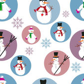 Template of snowmen on blue and purple background — Cтоковый вектор