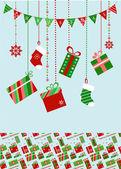 Christmas socks and presents — Stock Vector