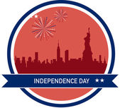 Independence day of America, NY City skyline — Stock Vector